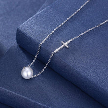 Load image into Gallery viewer, PURITY Pearl and Cross Sterling Silver Necklace