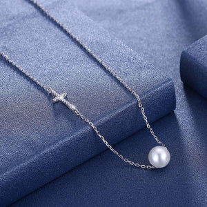 PURITY Pearl and Cross Sterling Silver Necklace