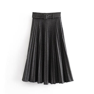 BALLANCHINE Long Pleated Skirt in Grey, Black or Khaki