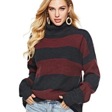 Load image into Gallery viewer, CAMBRIDGE Striped Turtle Neck Sweater