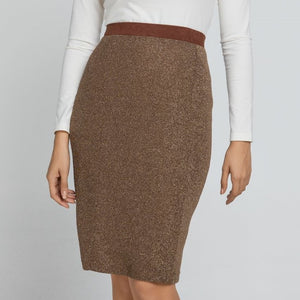 EXETER Luxurious Brown Pencil Skirt