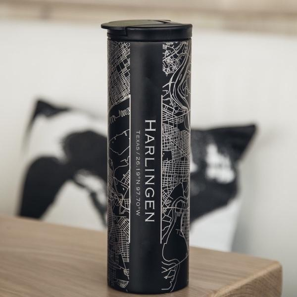 HARLINGEN Texas Map Tumbler in Matte Black