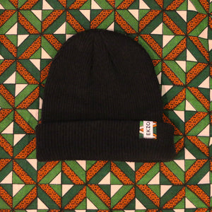CASCADE 100% Merino Wool Beanie in Black