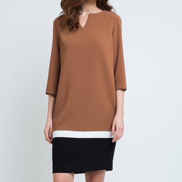 WINSTED Camel and Black Color Block Dress