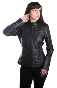 TULSA Fitted Black Leather Jacket ~ PLUS SIZES TOO