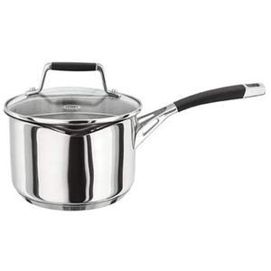 a stainless steel pot with sillicone grip handles and a glass lid