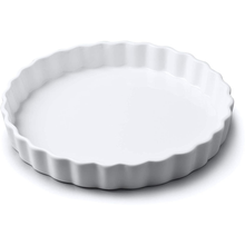 Load image into Gallery viewer, a medium white flan dish with crimped edges