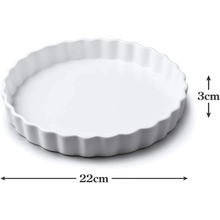 Load image into Gallery viewer, an image depicting the dimensions of the flan dish