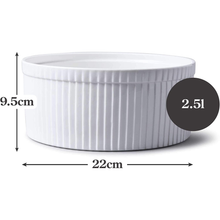 Load image into Gallery viewer, an image depicting the dimensions of the souffle dish
