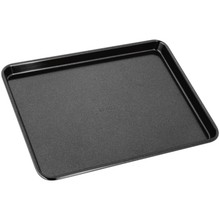 Load image into Gallery viewer, a small black baking tray with 'stellar' embossed on the centre of it