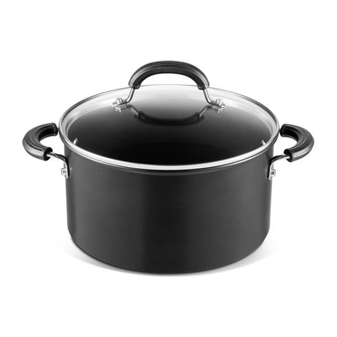 a black stockpot with a glass lis and three handles