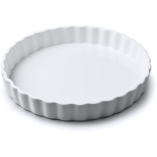 Load image into Gallery viewer, a large porcelain flan dish with crimped edges