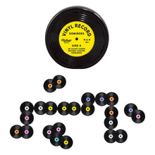 Load image into Gallery viewer, the record shaped tin with it's matching record shaped dominoes