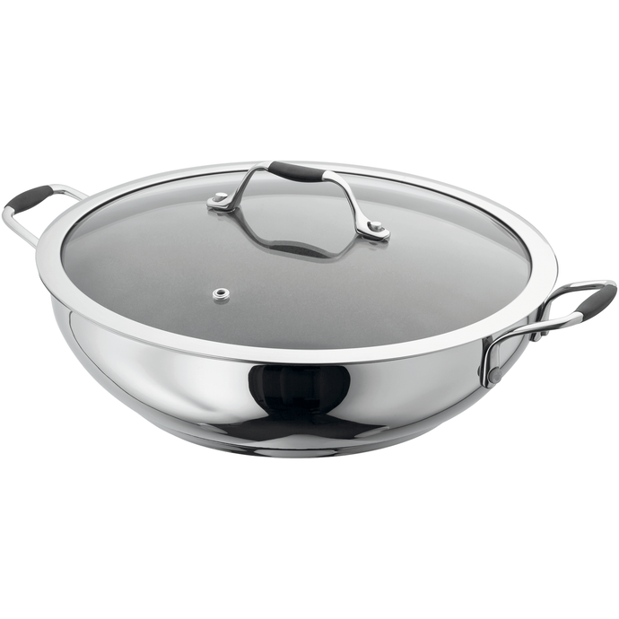 the stainless steel wok with glass lid with three handles