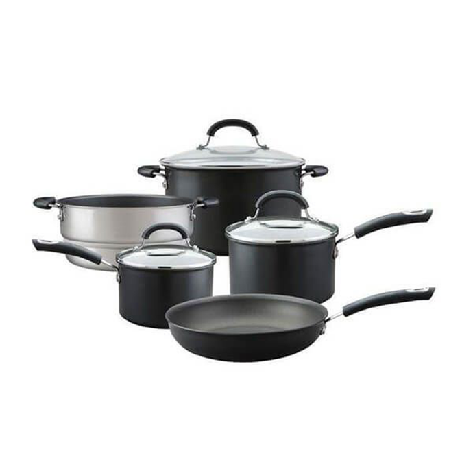 an image depicting the 5 piece set - two saucepans, a frying pan, a pot and a steamer