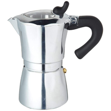 Load image into Gallery viewer, an aluminium espresso maker with a transparent lid and black handles