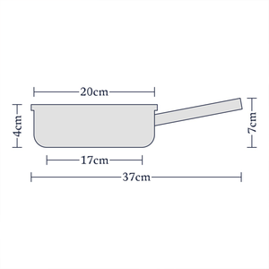 an image depicting the dimensions of the fry pan