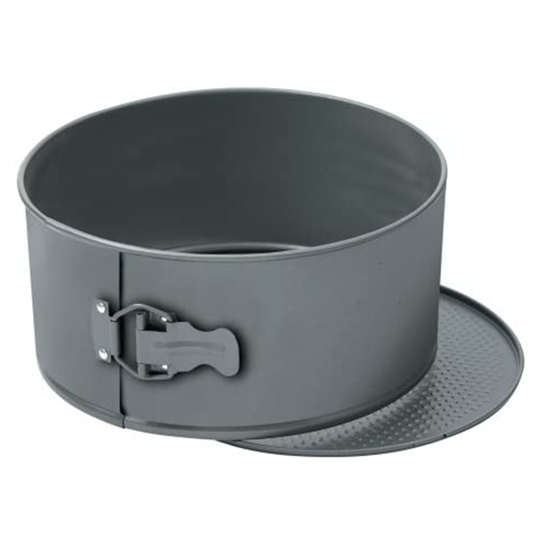 a grey cake pan with a spring form clip and loose base
