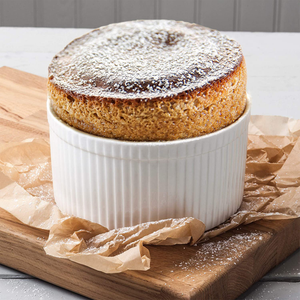 the ramekin with a souffle inside it