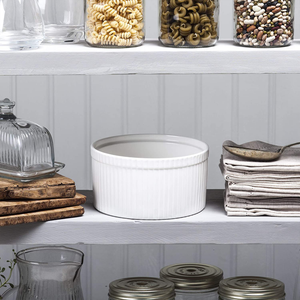 the ramekin sitting upon a pantry shelf