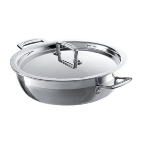 The cassarole pan with a handled lid and two handles on the sides