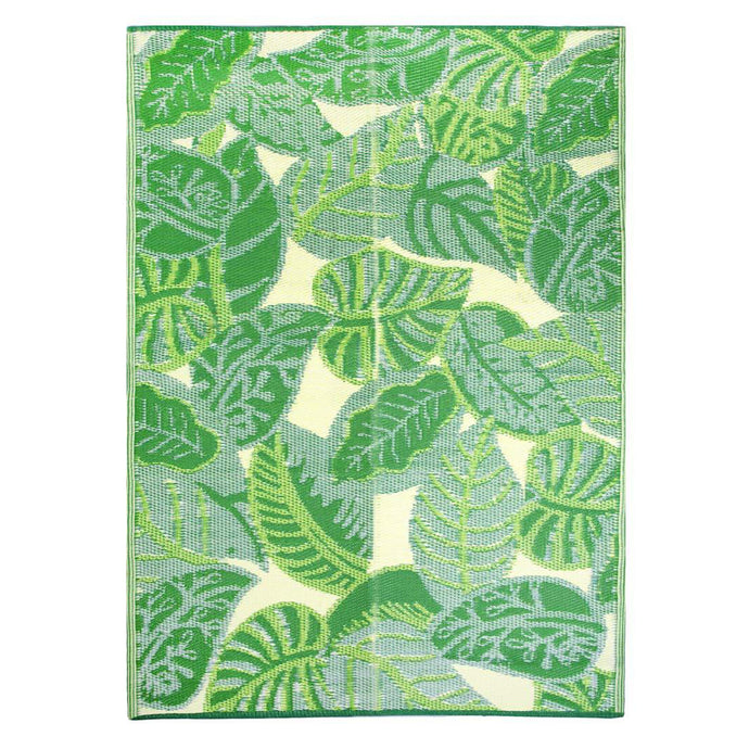 outdoor rug with leaves print