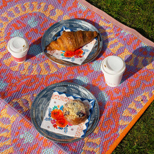 picnic on orange patterned outdoor rug