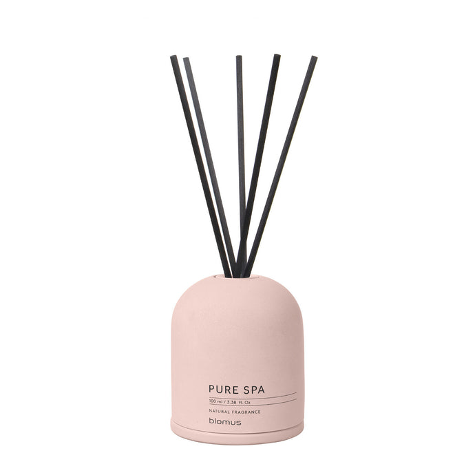 A Fig scented reed diffuser with a pink contrete base