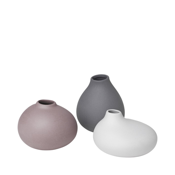 Three vases of various shapes, size and colour