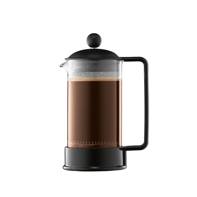 Front facing view of the Bodum BRAZIL French Press. which has a glass beaker and a black plastic base, handle and lid.