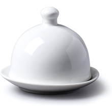 Load image into Gallery viewer, a white porcelian butter dish with a lid