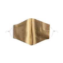 Load image into Gallery viewer, a 100& silk gold face mask with adjustable straps