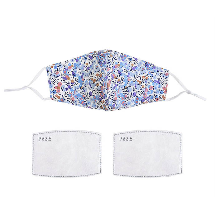 A white face mask with a lilac and blue floral pattern displayed withy two filters