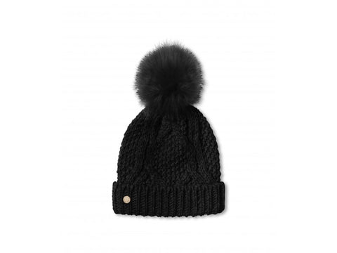 Katie Loxton Black Cable Knit Bobble Hat