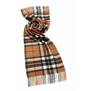 Large Camel Thompson Tartan Scarf