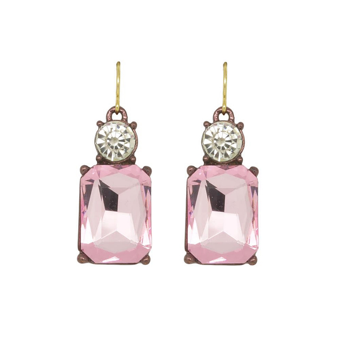 Dangly earrings with a small round clear gem and a larger rectangular pink gem