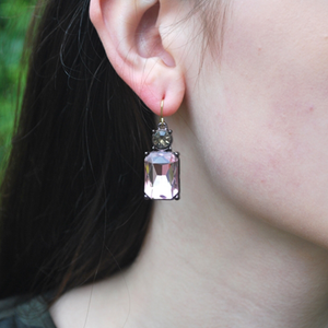 Pink Gem with Crystal Earrings in Antique Gold