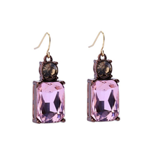 Load image into Gallery viewer, Pink Gem with Crystal Earrings in Antique Gold