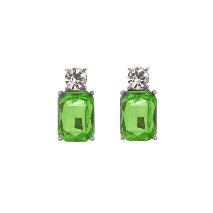 a pair of earrings comprising of small circular clear gems followed by larger green rectangle gems
