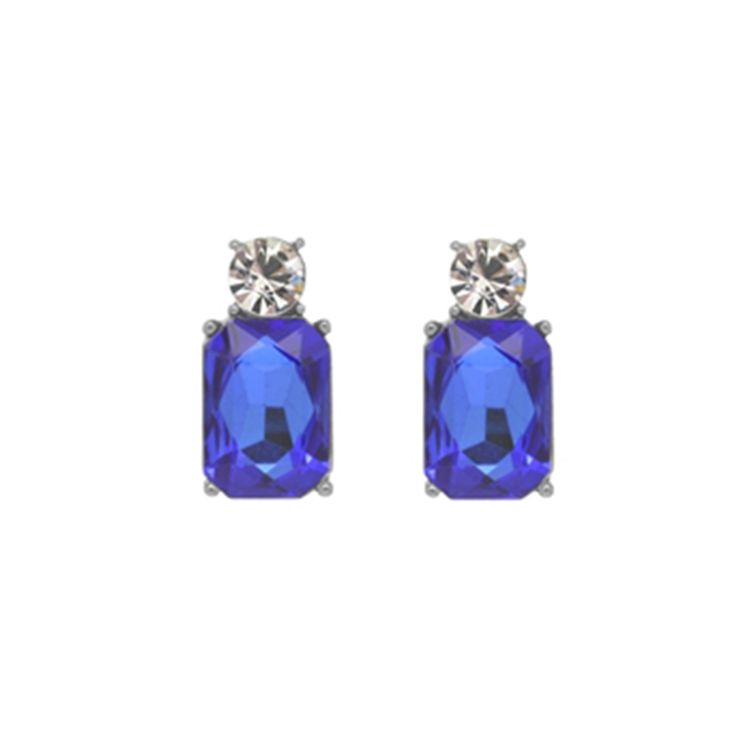Earrings with small clear circluar gems above larger royal blue rectangular gems