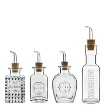 Load image into Gallery viewer, Four glass condiment bottles displayed in a row