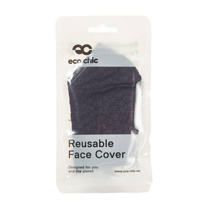 Grey Cubes Print Face Mask in packaging