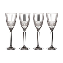 Load image into Gallery viewer, Four crystaline glasses in a row embossed diamond-cut band