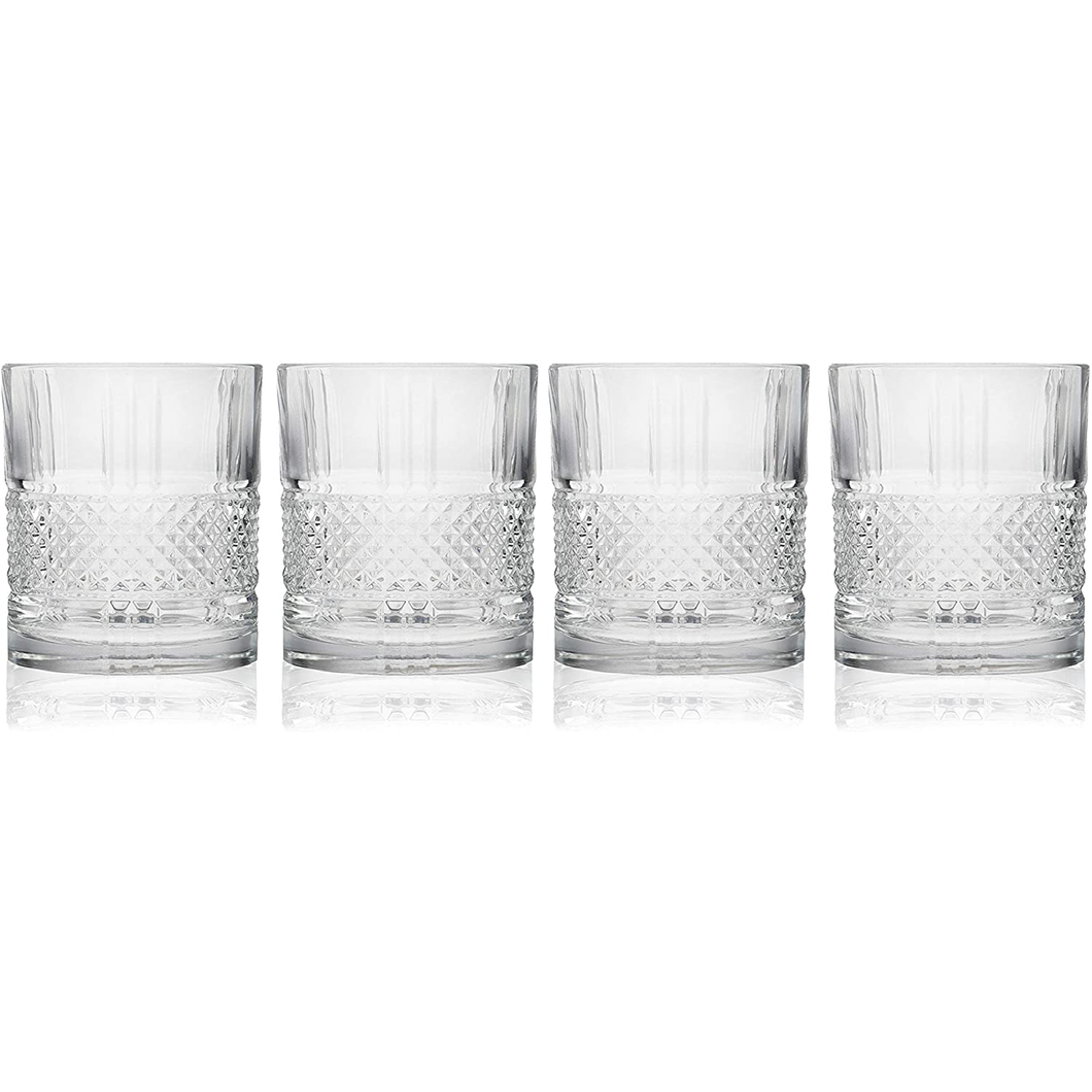Four crystaline tumblers with and embossed diamond cut band displayed in a row