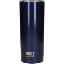 Load image into Gallery viewer, a dark blue travel mug with a clear plastic lid