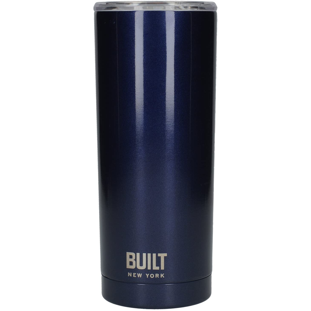 a dark blue travel mug with a clear plastic lid