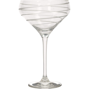 a champagne saucer with a swirl design