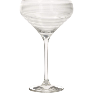 a champagne saucer with horizontal stripes