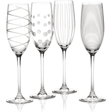 Load image into Gallery viewer, Four differently patterned champagne flutes