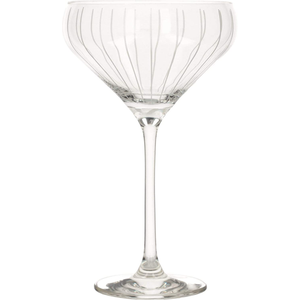 A champagne saucer with vertical stripes